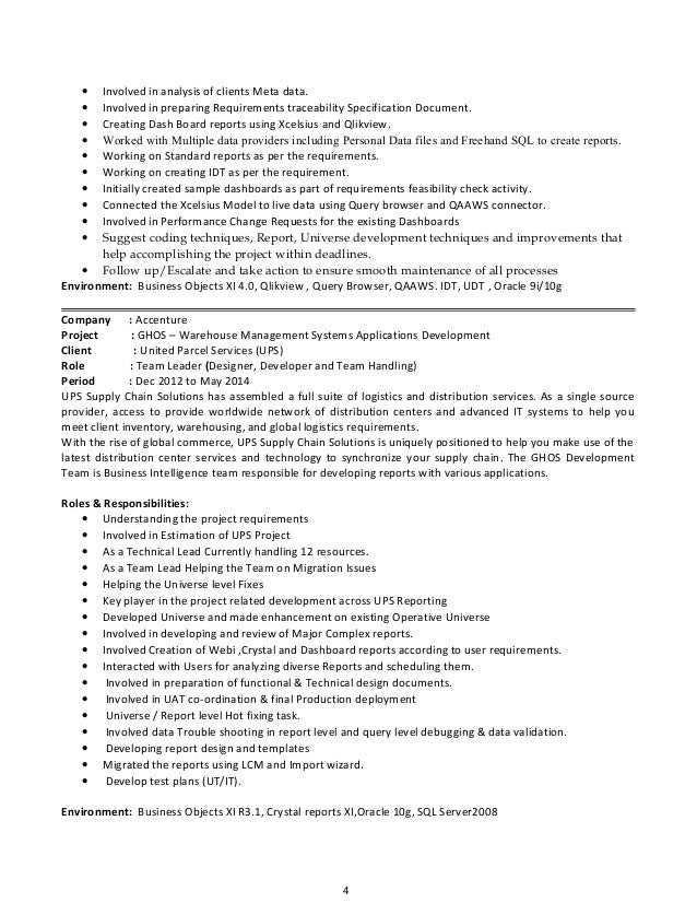 3 4 - Business Object Resume