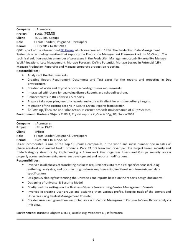sql server2008 4 5 - Business Object Resume