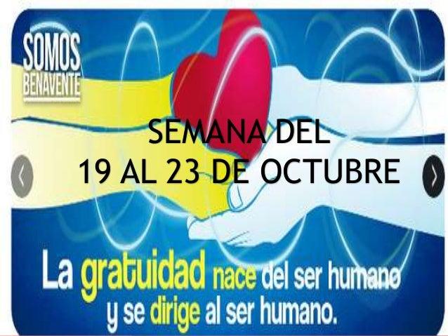 SEMANA DEL 19 AL 23 DE OCTUBRE