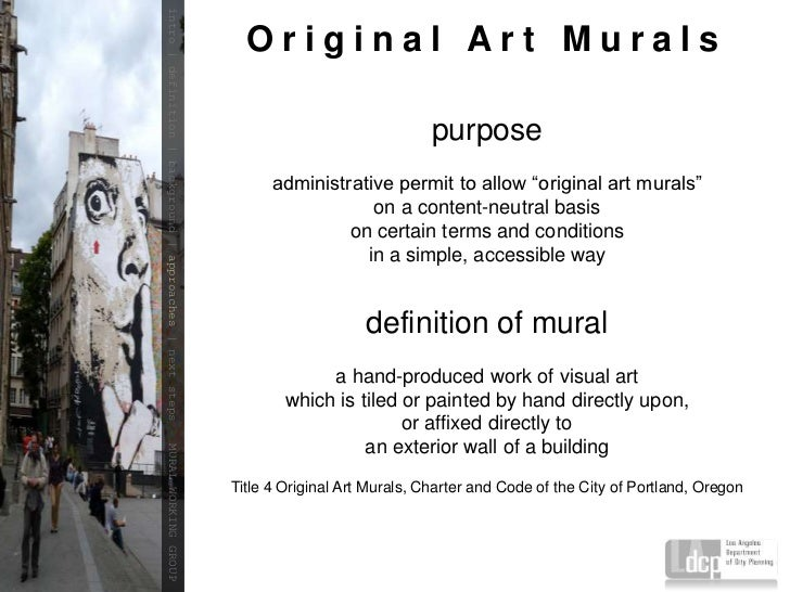 Mural ordinance update to the plum apn committees for Define mural painting