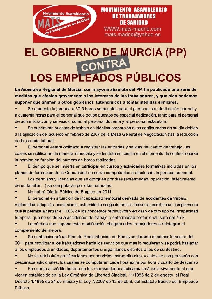 El gobierno de Murcia (PP) CONTRA los empleados públicos