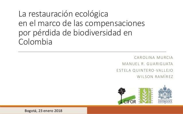 La restauración ecológica en el marco de las compensaciones por pérdida de biodiversidad en Colombia CAROLINA MURCIA MANUE...