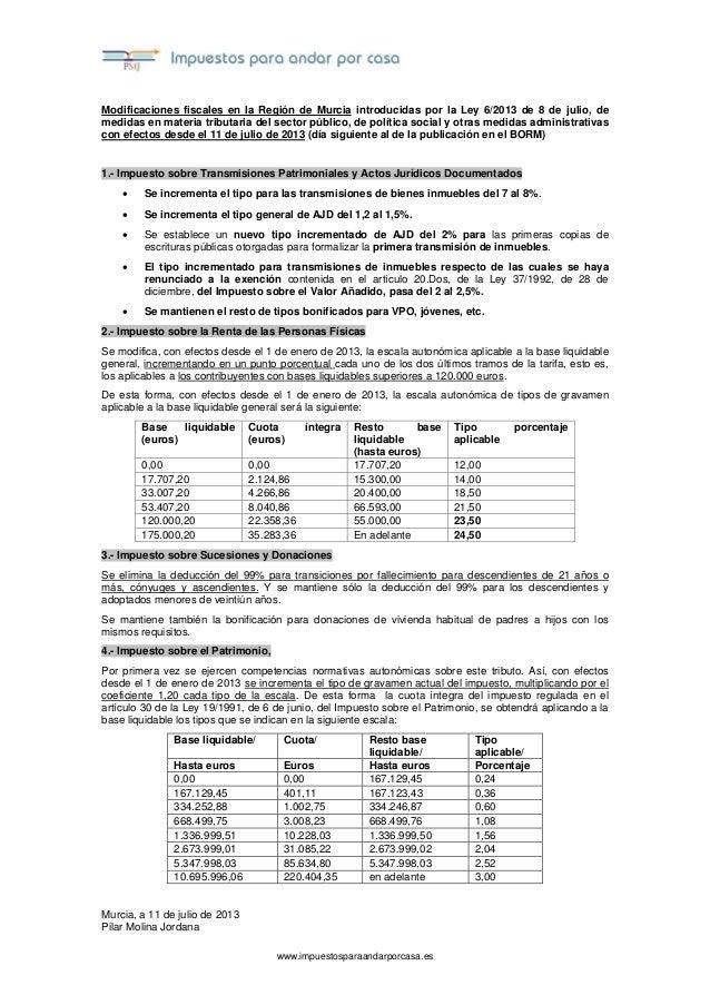 www.impuestosparaandarporcasa.es Modificaciones fiscales en la Región de Murcia introducidas por la Ley 6/2013 de 8 de jul...