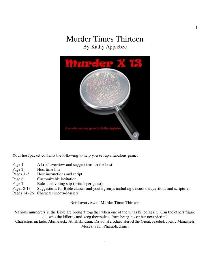 1                                Murder Times Thirteen                                          By Kathy ApplebeeYour host...