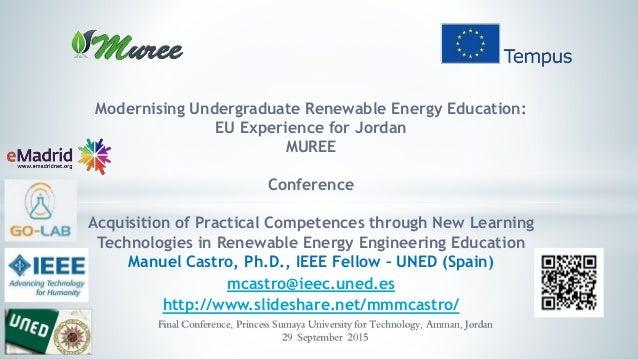 Modernising Undergraduate Renewable Energy Education: EU Experience for Jordan MUREE Conference Acquisition of Practical C...