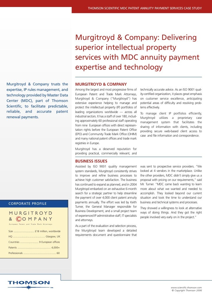 THOMSON SCIENTIFIC MDC PATENT ANNUITY PAYMENT SERVICES CASE STUDY                                                         ...