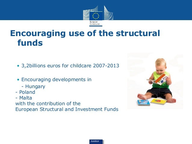Encouraging use of the structural  funds  • 3,2billions euros for childcare 2007-2013  • Encouraging developments in  - Hu...