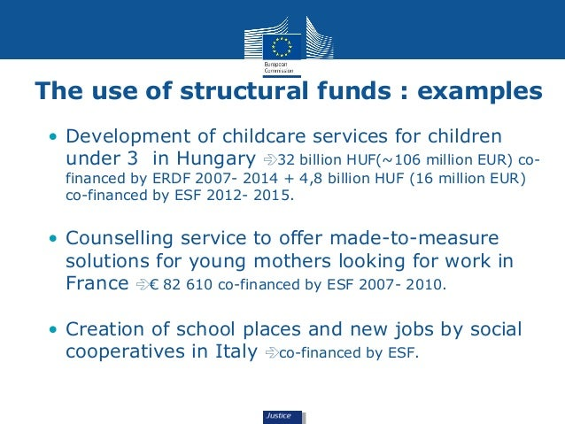 The use of structural funds : examples  • Development of childcare services for children  under 3 in Hungary 32 billion H...