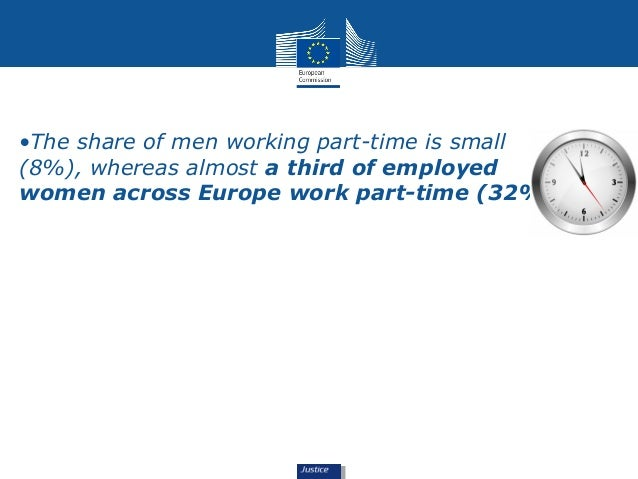•The share of men working part-time is small  (8%), whereas almost a third of employed  women across Europe work part-time...