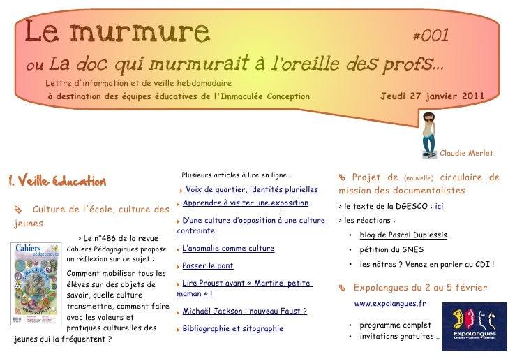 Le murmure                                                                                                   #001   ou La ...