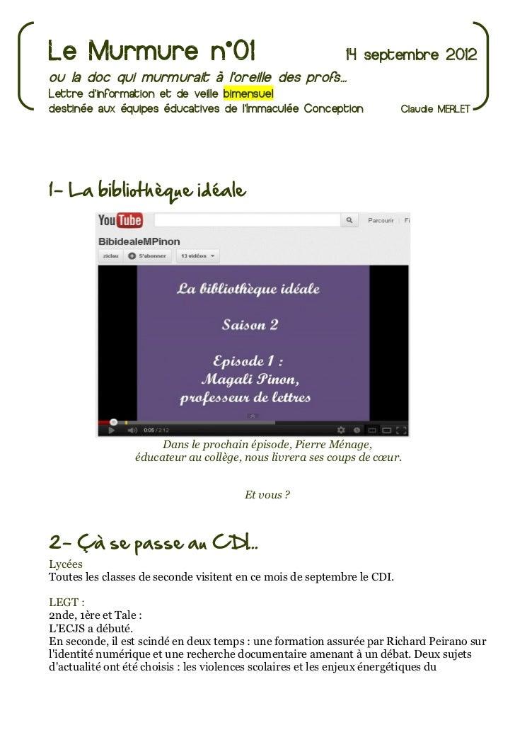 Le Murmure n°01                                             14 septembre 2012ou la doc qui murmurait à loreille des profs....