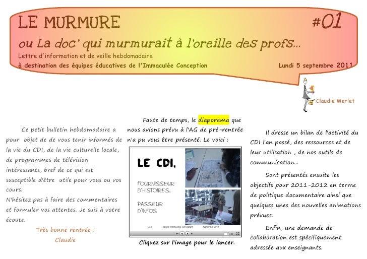 LE MURMURE                                                                                                #01    ou La doc...