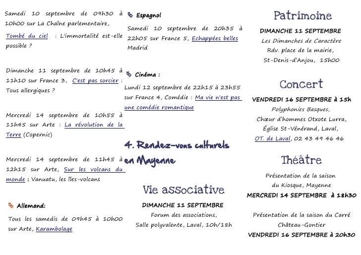 Samedi   10    septembre     de   09h30   à     Espagnol                                        Patrimoine10h00 sur La Ch...