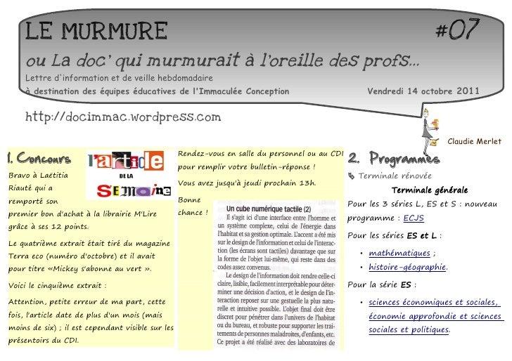 LE MURMURE                                                                                                         #07    ...