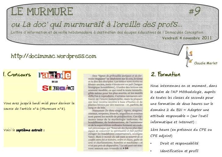 LE MURMURE                                                                                           #9    ou La doc qui m...