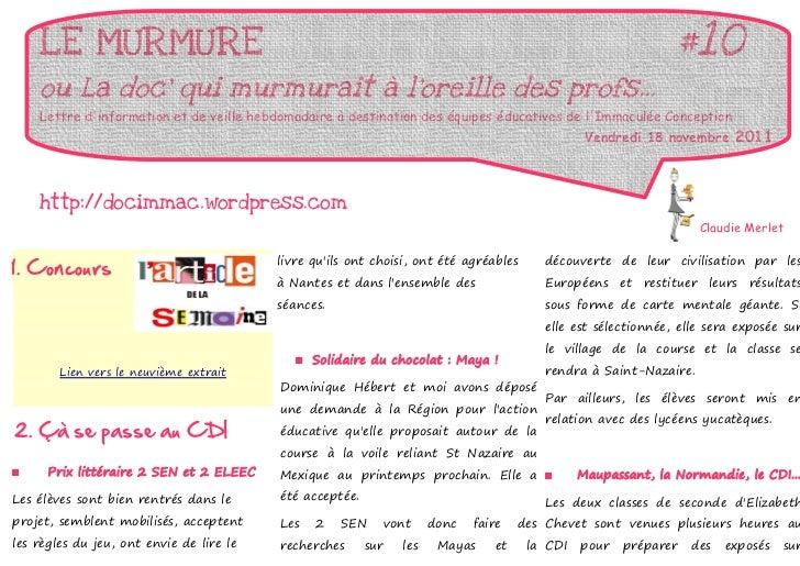 LE MURMURE                                                                                                   #10    ou La ...