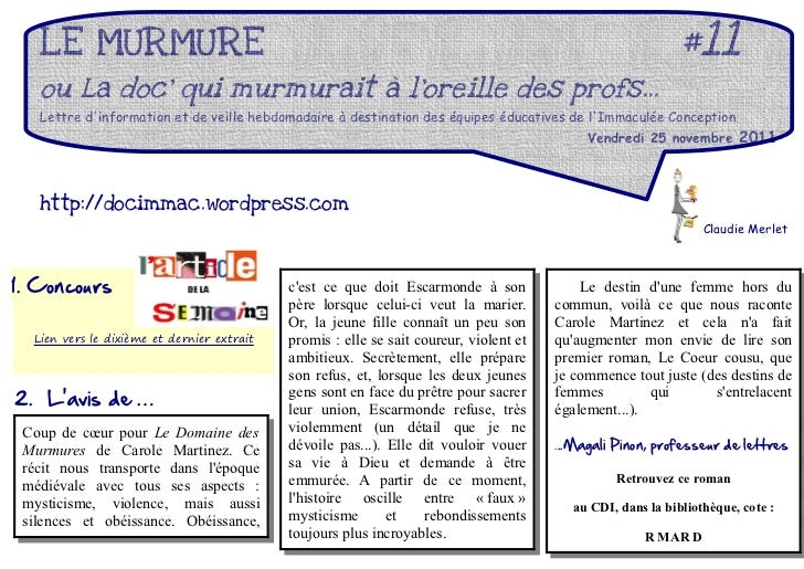 LE MURMURE                                                                                               #11   ou La doc q...