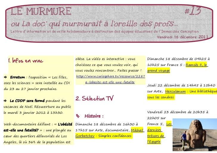LE MURMURE                                                                                             #13     ou La doc q...