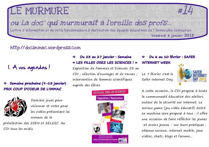 LE MURMURE                                                                                                  #14     ou La ...