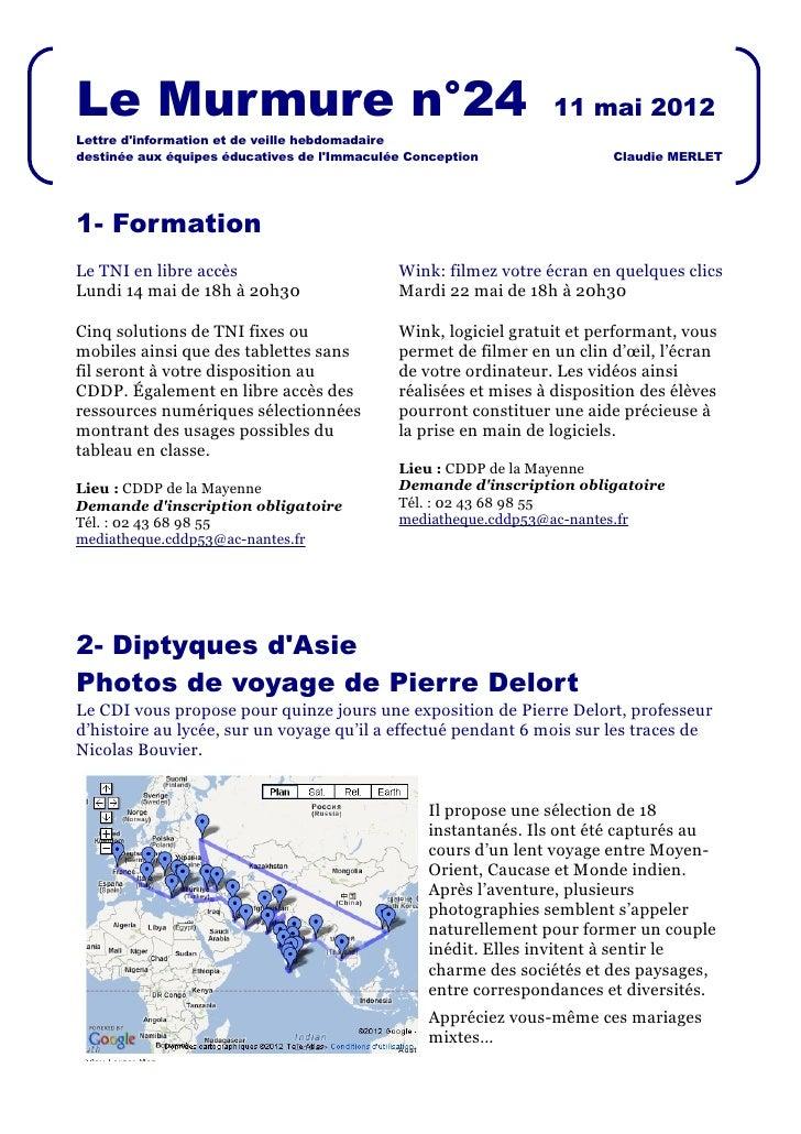 Le Murmure n°24                                                  11 mai 2012Lettre dinformation et de veille hebdomadaired...