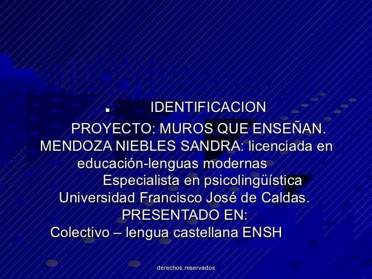 .        IDENTIFICACION    PROYECTO: MUROS QUE ENSEÑAN.MENDOZA NIEBLES SANDRA: licenciada en     educación-lenguas moderna...