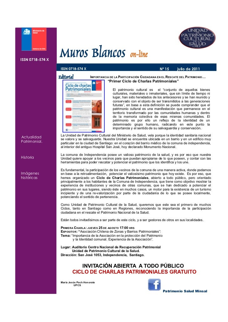 ISSN 0718-574 X   ISSN 0718-574 X                      Muros Blancos on-line                       ISSN 0718-574 X        ...