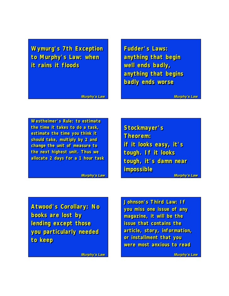 Wymurg's 7th Exception Wymurg's 7th Exception               Fudder's Laws:                                      Fudder's L...