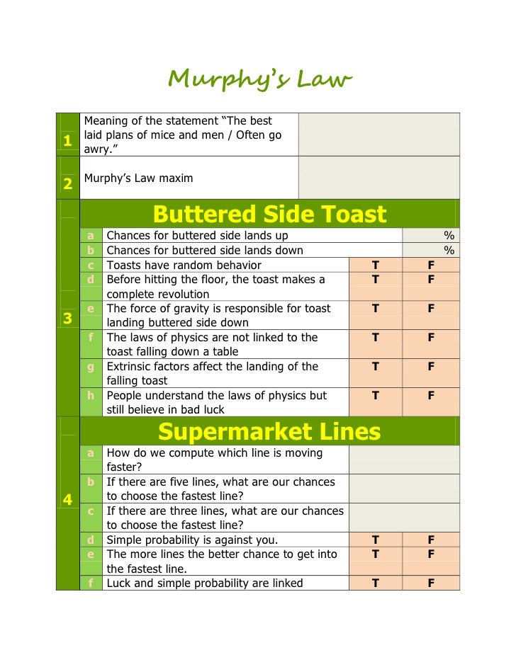 """Murphy's Law    Meaning of the statement """"The best    laid plans of mice and men / Often go1   awry.""""    Murphy's Law maxi..."""