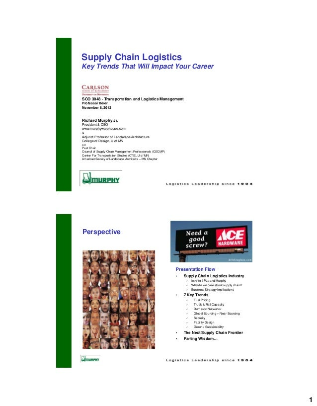 Supply Chain LogisticsKey Trends That Will Impact Your CareerSCO 3048 - Transportation and Logistics ManagementProfessor B...