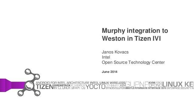 Murphy integration to Weston in Tizen IVI Janos Kovacs Intel Open Source Technology Center June 2014