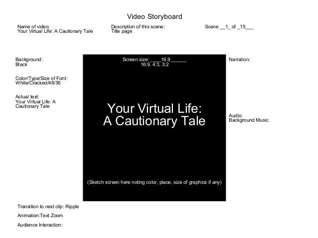 Background: Black Color/Type/Size of Font: White/Cracked/48/36 Actual text: Your Virtual Life: A Cautionary Tale Screen si...