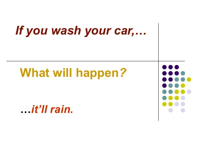 If you wash your car,… What will happen? …it'll rain.