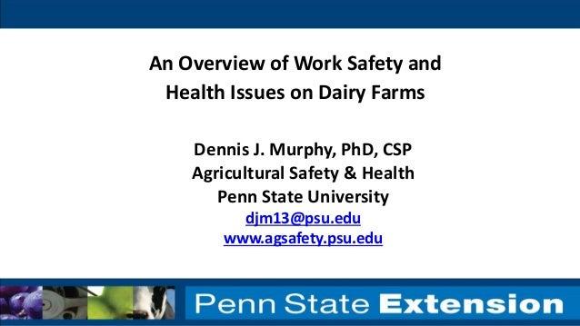 Dennis J. Murphy, PhD, CSP Agricultural Safety & Health Penn State University djm13@psu.edu www.agsafety.psu.edu An Overvi...