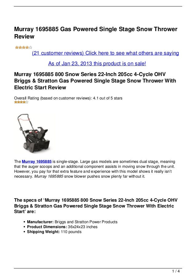 Murray 1695885 Gas Powered Single Stage Snow ThrowerReview          (21 customer reviews) Click here to see what others ar...