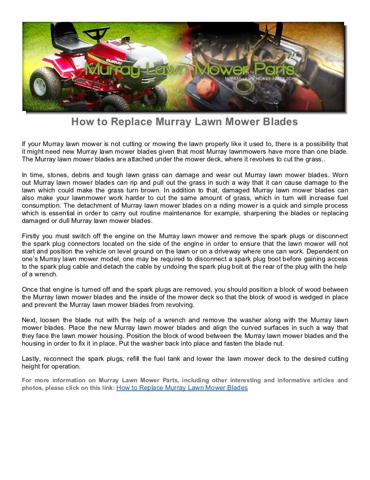 How to Replace Murray Lawn Mower Blades