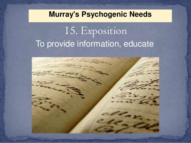 murrays list of psychogenic needs Murray's needs this is the list of 'psychogenic' needs identified in explorations in personality, edited by henry a murray in 1938 they are divided into five groups.