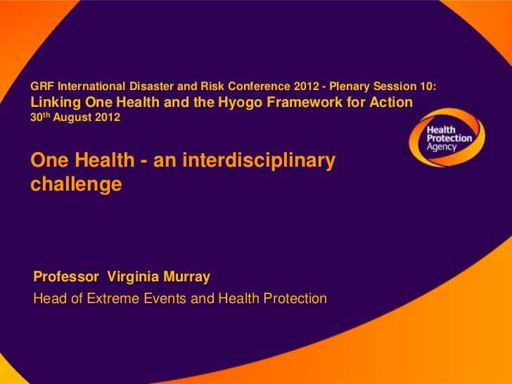 GRF International Disaster and Risk Conference 2012 - Plenary Session 10:Linking One Health and the Hyogo Framework for Ac...