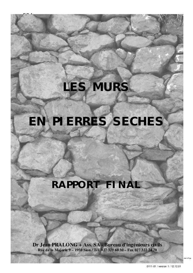 PRA                                                                               Murs en pierres sèches – Rapport final  ...