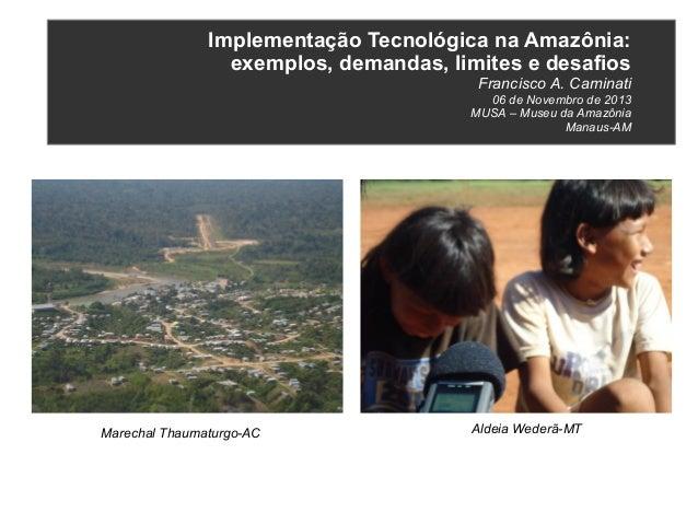Implementação Tecnológica na Amazônia: exemplos, demandas, limites e desafios Francisco A. Caminati 06 de Novembro de 2013...