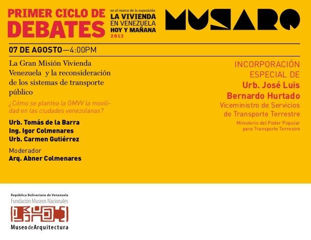 Moderador Arq. Abner Colmenares 07 de agosto—4:00pm INCORPORACIÓN ESPECIAL DE Urb. José Luis Bernardo Hurtado Viceministro...