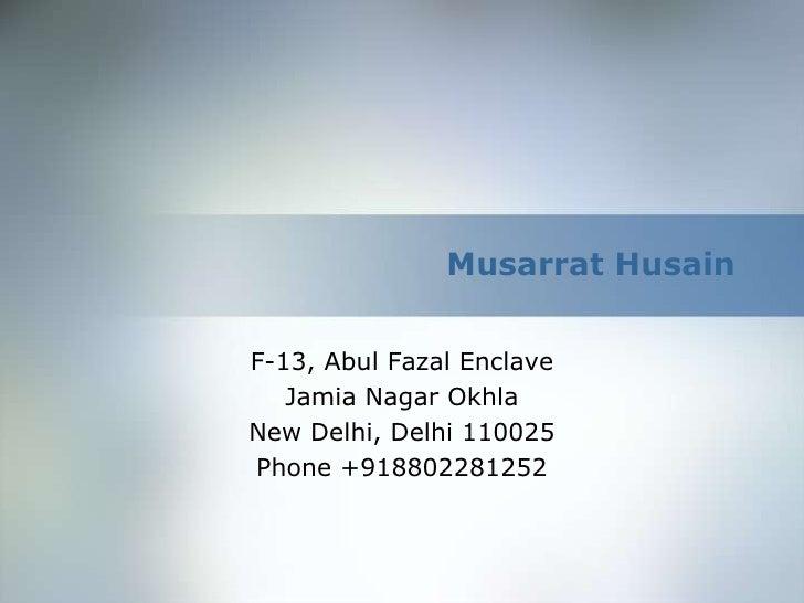 Musarrat Husainbr F 13 AbulFazal Enclavebr