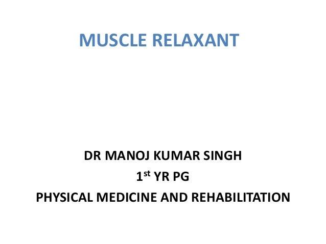 MUSCLE RELAXANT DR MANOJ KUMAR SINGH 1st YR PG PHYSICAL MEDICINE AND REHABILITATION