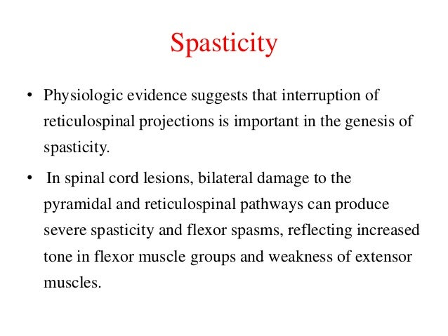 Spasticity • Physiologic evidence suggests that interruption of  reticulospinal projections is important in the genesis of...