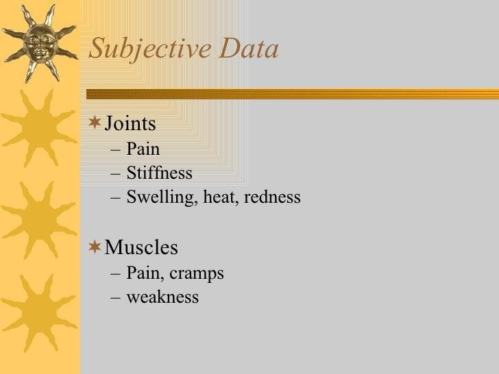 Subjective Data <ul><li>Joints </li></ul><ul><ul><li>Pain </li></ul></ul><ul><ul><li>Stiffness </li></ul></ul><ul><ul><li>...