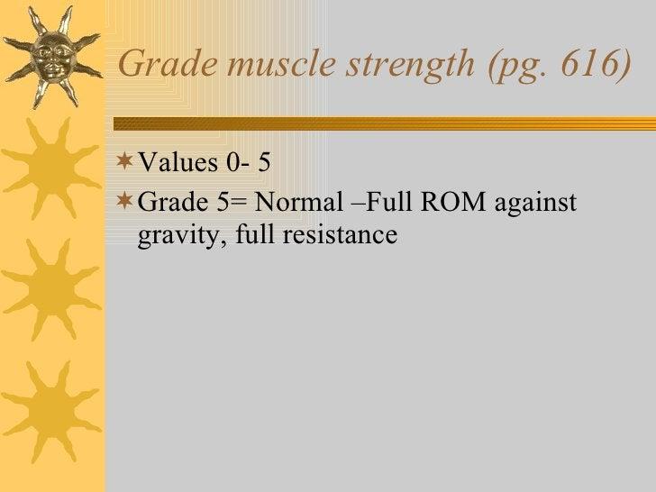 Grade muscle strength (pg. 616) <ul><li>Values 0- 5 </li></ul><ul><li>Grade 5= Normal –Full ROM against gravity, full resi...