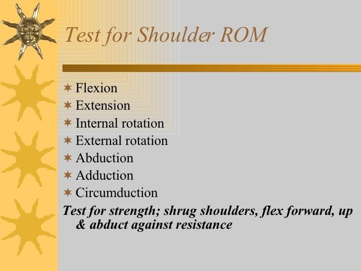 Test for Shoulder ROM <ul><li>Flexion </li></ul><ul><li>Extension </li></ul><ul><li>Internal rotation  </li></ul><ul><li>E...