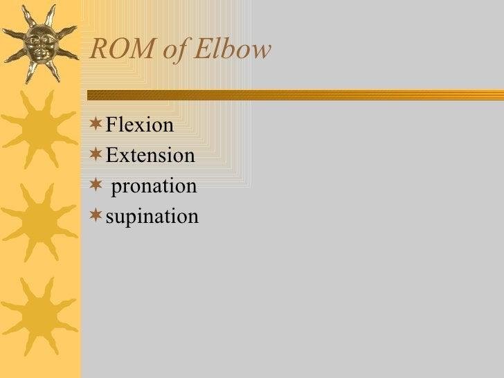 ROM of Elbow <ul><li>Flexion </li></ul><ul><li>Extension </li></ul><ul><li>pronation </li></ul><ul><li>supination </li></ul>