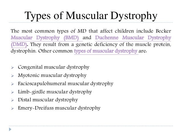 Muscular dystrophy: Group of more than 30 inherited diseases.