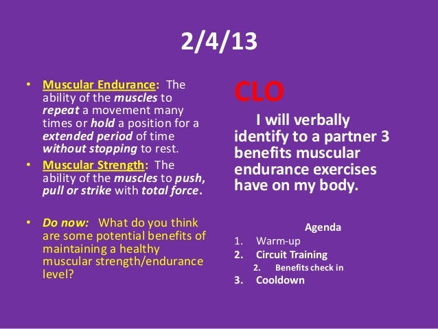 Muscular Strength And Endurance Do Now Bodyworks