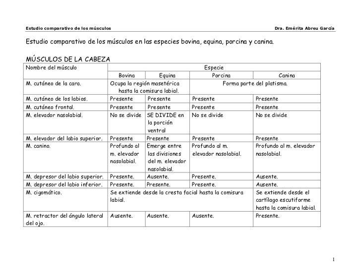 Estudio comparativo de los músculos                                                              Dra. Emérita Abreu García...